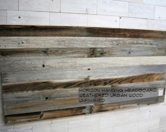 Barn Wood Hanging Headboard, Headboard with Posts or Headboard—Footboard Combination  |  choose your size  |  Weathered Horizon Design