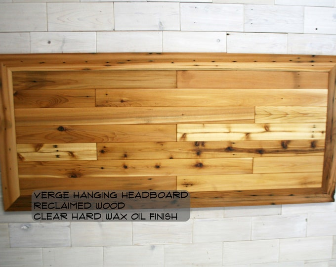 Reclaimed Wood Hanging Headboard Panel | all bed sizes | The Verge Remilled Design