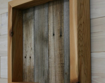 "Reclaimed Cedar Shadow Box 14"" x 14"" x 2"" with open face"