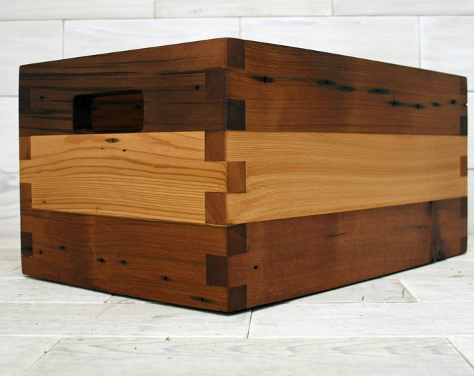 "Reclaimed Cedar Box Joint Crate 18"" x 12"" x 9"""