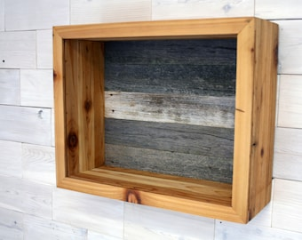 "Reclaimed Wood Shadow Box for Wedding Bouquet 19"" x 15"" x 6"""