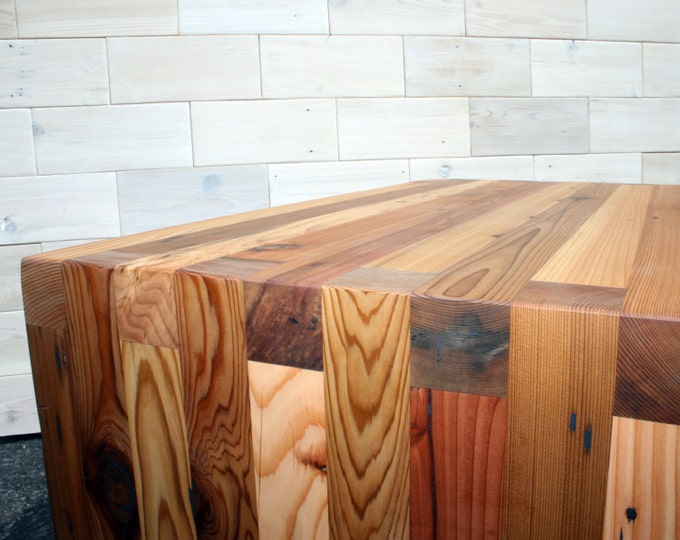 Reclaimed Wood Box Joint Bench / Coffee Table