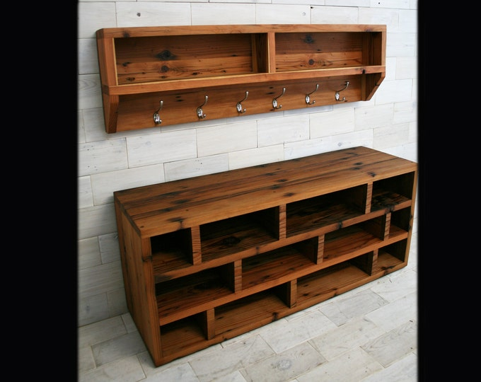 Arcadian Coat Rack & Shoe Bench made from Reclaimed Redwood