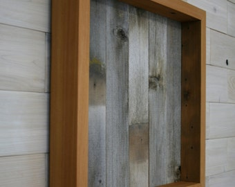 "Reclaimed Wood Shadow Box 16"" x 16"" x 2"" with open face"