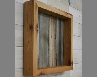 """Reclaimed Wood Shadow Box 12"""" x 12"""" x 2"""" with open face"""