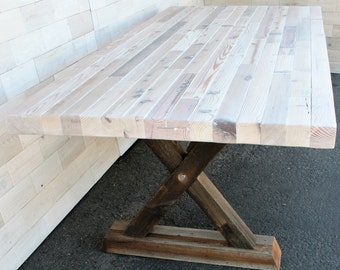"Reclaimed Wood Dining Table with Barn Wood ""X"" Legs"