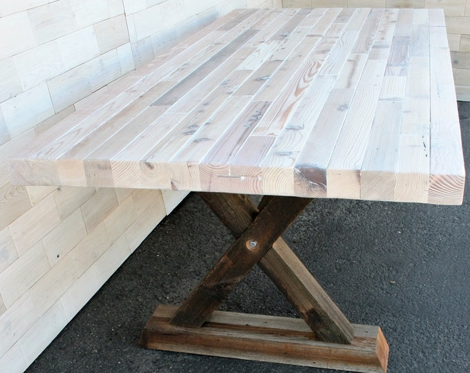 """Reclaimed Wood Dining Table with Barn Wood """"X"""" Legs"""