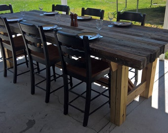 Barn Wood Trestle Dining Table with Reclaimed Wood Base