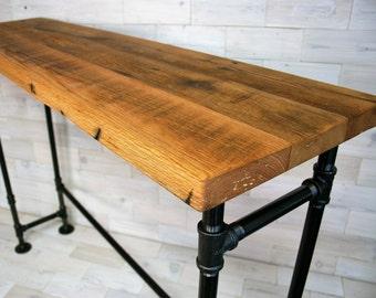 Reclaimed Oak Bar Table with Steel Pipe Legs