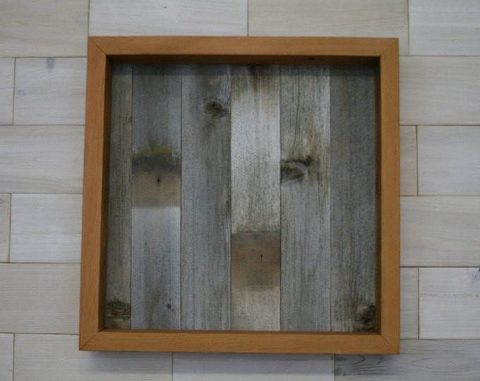"Reclaimed Wood Shadow Box 18"" x 18"" x 2"" with clear acrylic front"