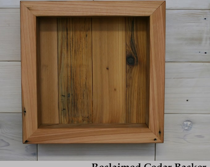 "Reclaimed Cedar Shadow Box 10"" x 10"" x 2"" with open face"