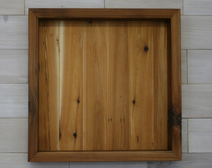 "Reclaimed Wood Shadow Box 20"" x 20"" x 2"" with clear acrylic front"