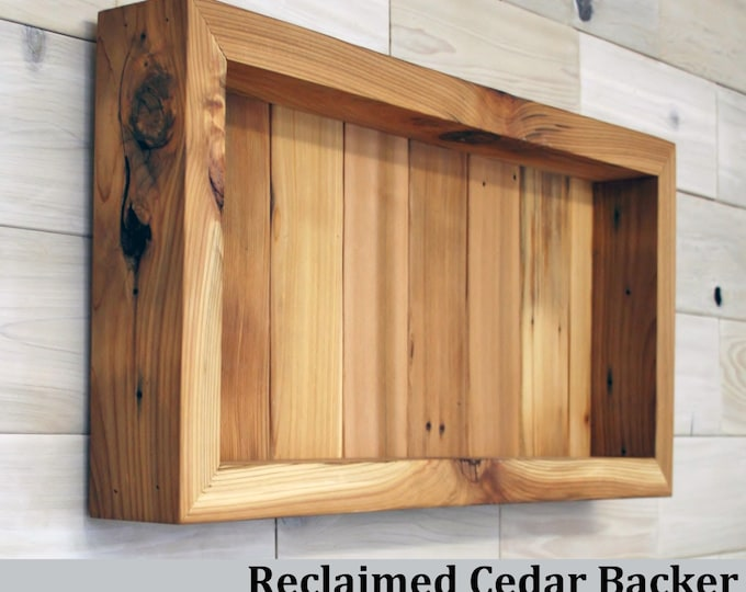 "Reclaimed Cedar Shadow Box 22"" x 10"" x 2"" with clear acrylic front"