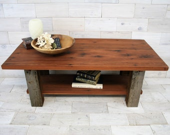 Reclaimed Redwood and Barn Wood Coffee Table | Dichotomy Design