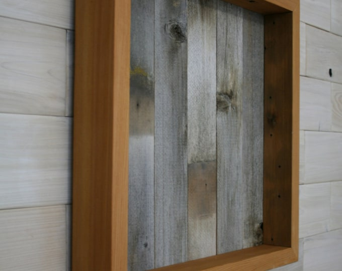 """Reclaimed Wood Shadow Box 16"""" x 16"""" x 2"""" with open face"""