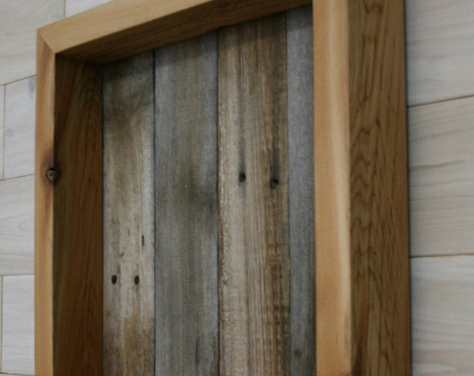 "Reclaimed Wood Shadow Box 14"" x 14"" x 2"" with open face"