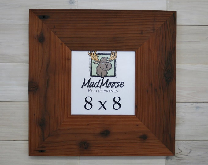 """8x8 Reclaimed Redwood Picture Frame - Classic 5"""""""