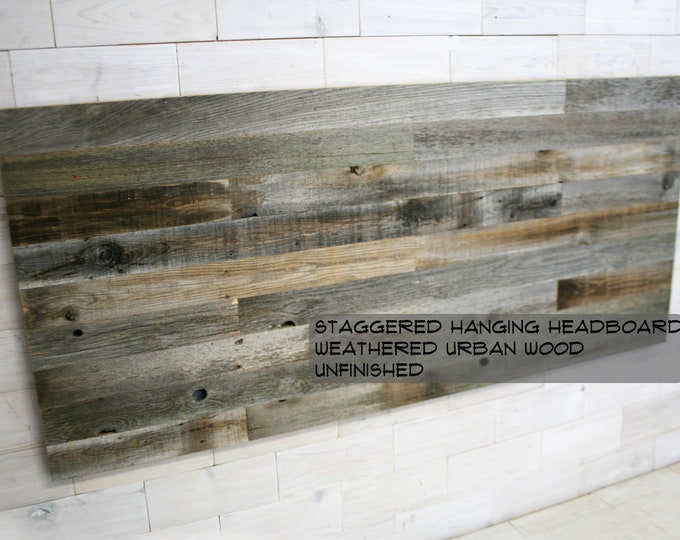 Barn Wood Hanging Headboard, Headboard with Posts or Headboard—Footboard Combination  |  choose your size  |  Weathered Staggered Design