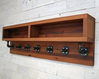 Reclaimed Redwood Arcadian Coat Rack with Shelving