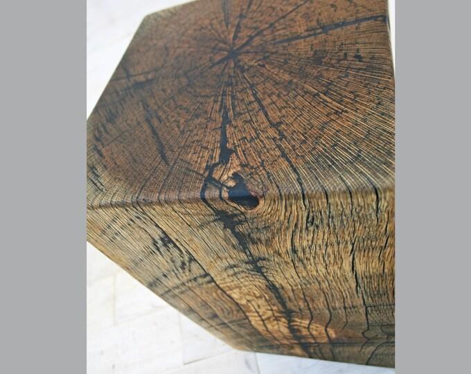Antique Oak End Table Block