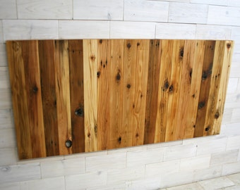 Reclaimed Wood Hanging Headboard Panel | all bed sizes | Remilled Verizon Design