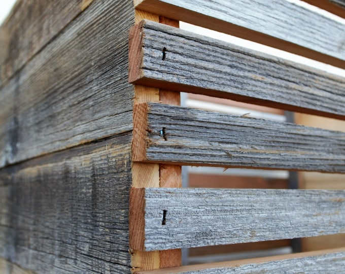 "Barn Wood Slat Crate 12"" tall 