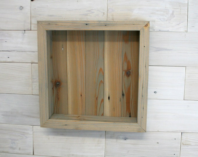 "Reclaimed Wood Shadow Box 24"" x 24"" x 2"" with clear acrylic front"
