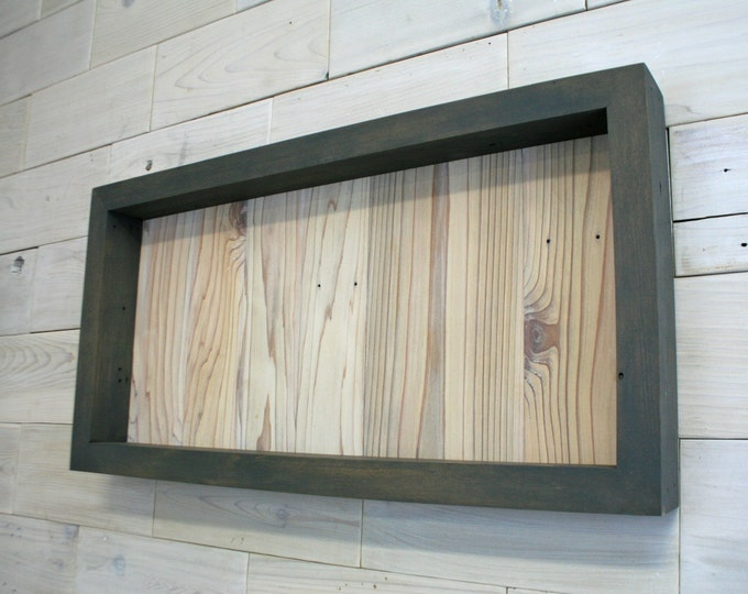 "Reclaimed Wood Shadow Box 24"" x 12"" x 2"" with clear acrylic front"