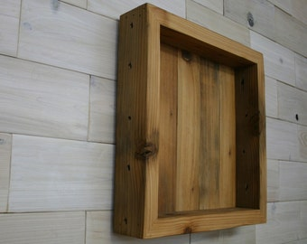 """Reclaimed Wood Shadow Box 14"""" x 14"""" x 2"""" with clear acrylic front"""
