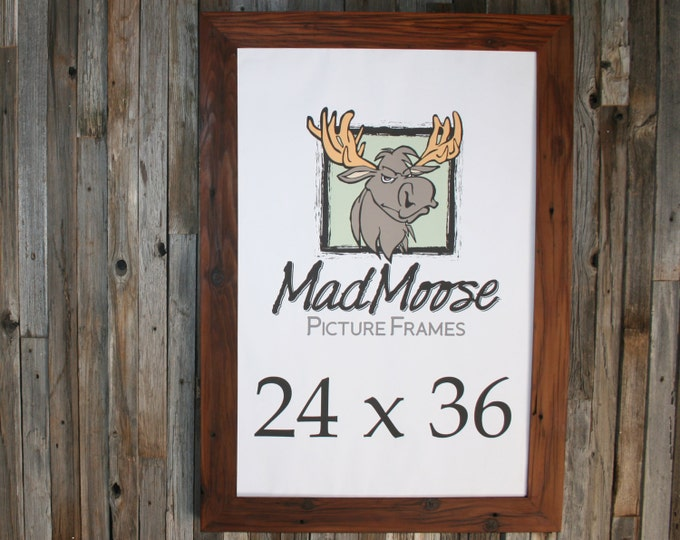24x36 Reclaimed Redwood Picture Frame - Classic 3""