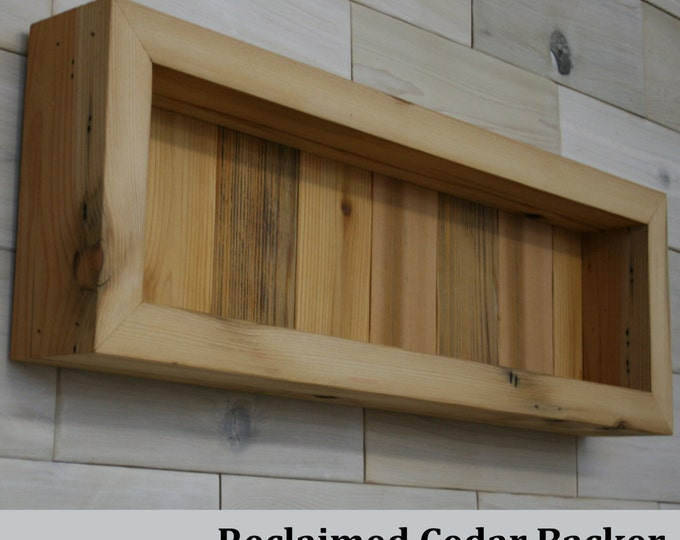 "Reclaimed Cedar Shadow Box 22"" x 6"" x 2"" with open face"