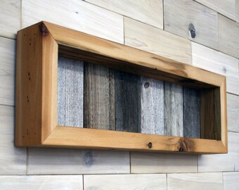 "Reclaimed Wood Shadow Box 22"" x 6"" x 2"" with clear acrylic front"