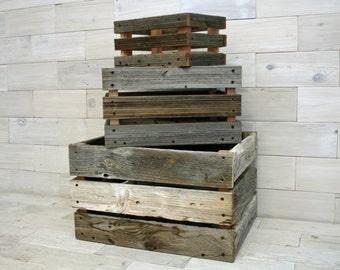 Barn Wood Milk Crate | nesting set of 3 crates