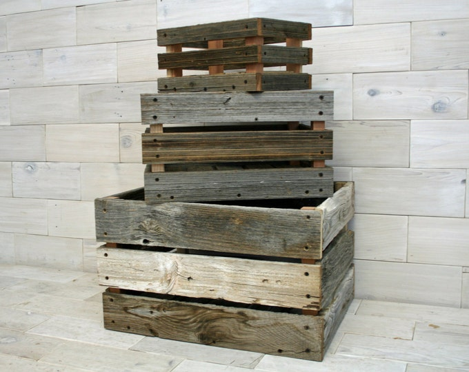 Barn Wood Milk Crate | nesting set of 3 crates