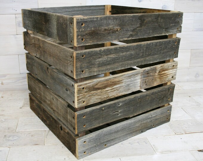 "Barn Wood Milk Crate 20"" x 20"" x 20"""