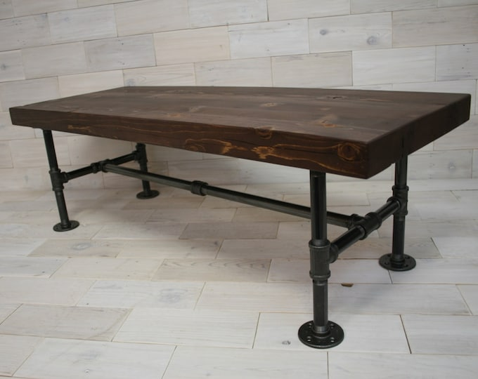 Reclaimed Wood Coffee Table with Steel Pipe Legs
