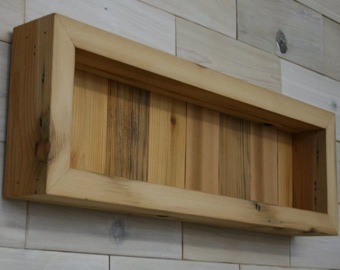 "Reclaimed Wood Shadow Box 22"" x 6"" x 2"" with open face"