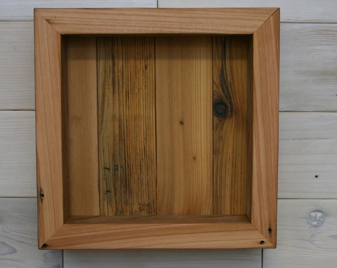 "Reclaimed Wood Shadow Box 10"" x 10"" x 2"" with open face"