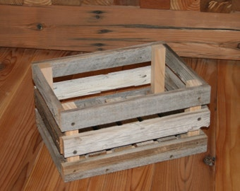 "Barn Wood Milk Crate 12"" x 8"" x 6"""