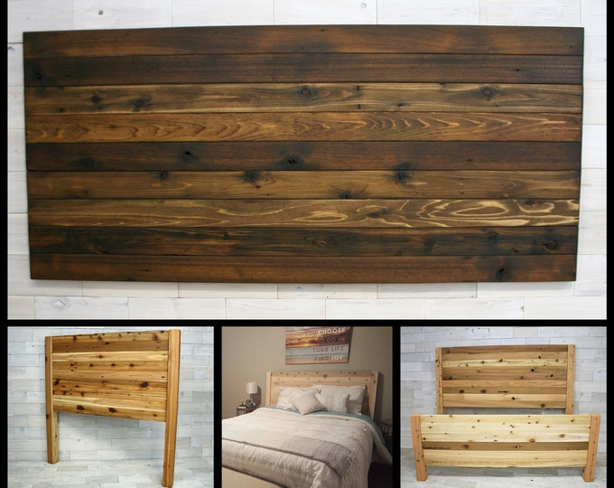 Reclaimed Wood Hanging Headboard, Headboard with Posts, or Headboard—Footboard Combination     choose your size     Remilled Horizon Design