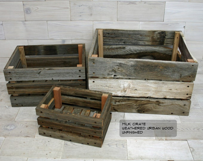 Barn Wood Milk Crate     choose your size