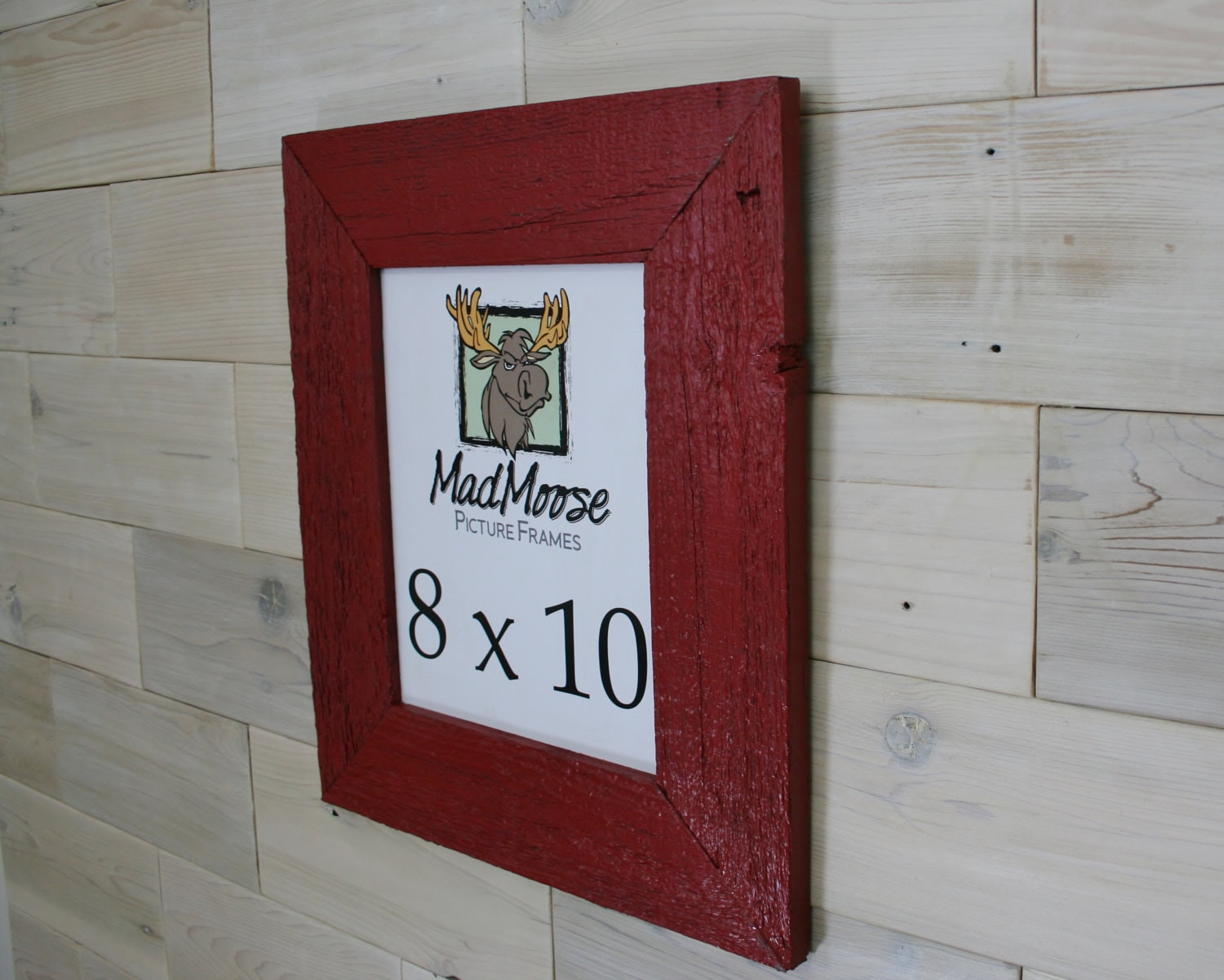 8x10 PAINTED RED Barn Wood [Thin x 3] Picture Frame