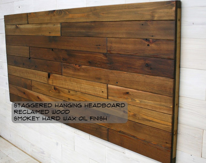 Reclaimed Wood Hanging Headboard, Headboard with Posts or Headboard—Footboard Combination     choose your size     Remilled Staggered Design