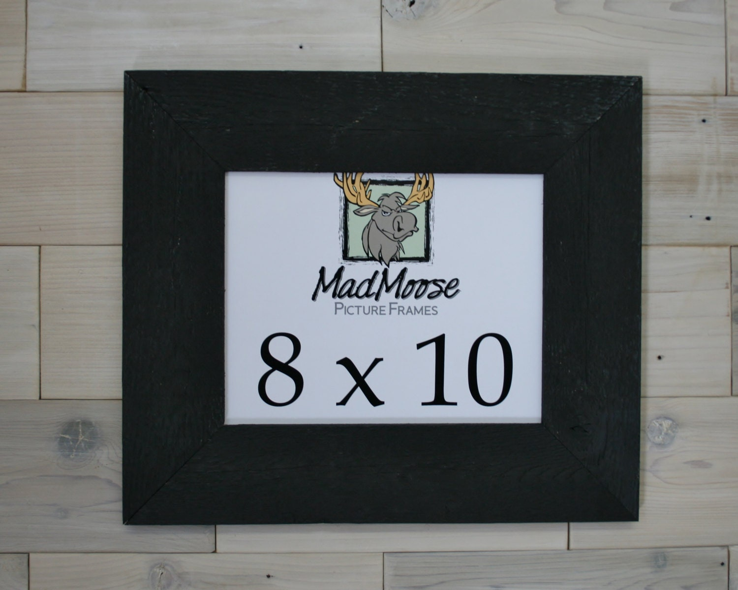 8x10 PAINTED BLACK Barn Wood [Thin x 3] Picture Frame
