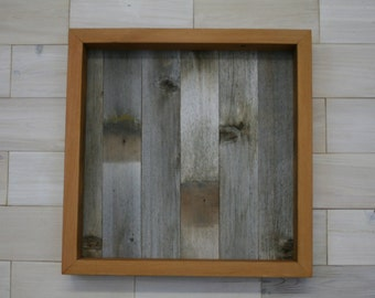 """Reclaimed Wood Shadow Box 18"""" x 18"""" x 2"""" with clear acrylic front"""
