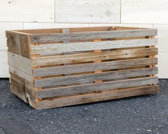 Barn Wood Slat Crate 16 X 12 X 9