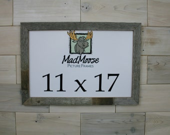 "11x17 BarnWood [Thin x 1.25""]  Picture Frame . . . (tags: antique reclaimed weathered barn wood frame rustic cabin frame)"