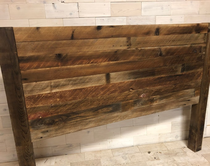 Reclaimed Wood Hanging Headboard, Headboard with Posts or Headboard—Footboard Combination     choose your size     TimeWorn Horizon Design