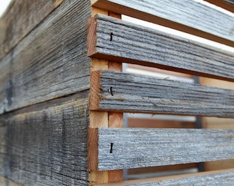 """Barn Wood Slat Crate 12"""" tall 