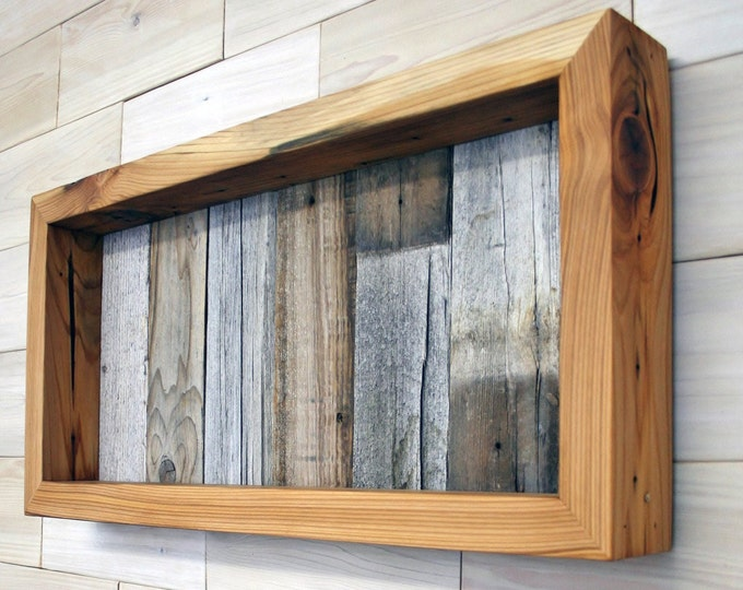 """Reclaimed Wood Shadow Box 22"""" x 10"""" x 2"""" with open face"""